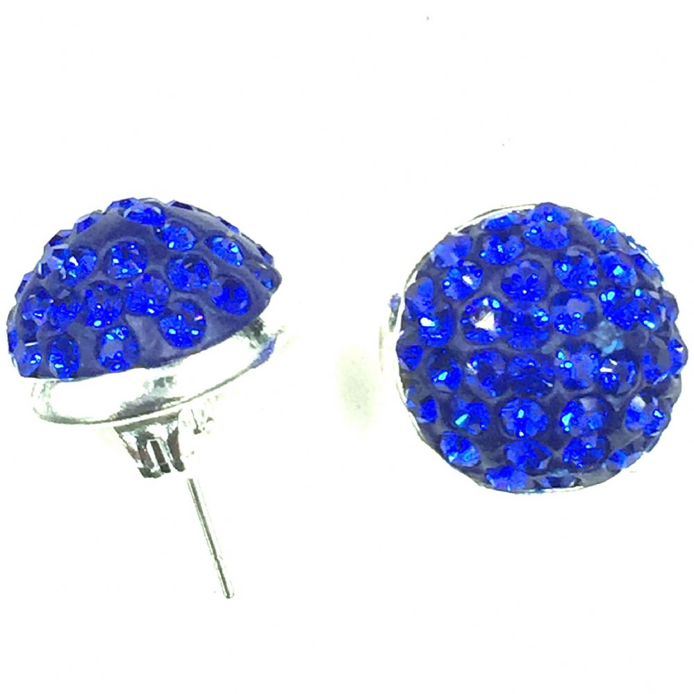 10mm Pave Crystal Stud Earrings Sapphire Blue Crystals